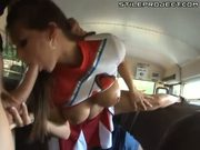 Cheerleaders and jocks have a fuck party on the school bus