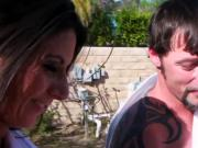 Nikki Daniels in garden party orgy