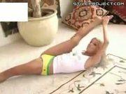 Bottomless Blonde Shows Off Flexibility & Balance Skills