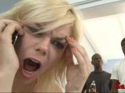 Nasty blond biatch DPed and creampied by huge black boners