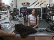 Babe sells her fur coat and screwed at the pawnshop