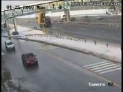 idiot truck driver drives through bridge