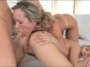 Lia Lor and Brandi Love amazing threeway action on the bed