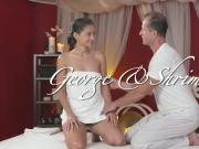 Horny masseur fucks slim brunette