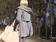 Czech blonde amateur sucks and banged in woods