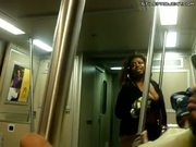 Fat black crackhead prostitute on subway talks about whoring