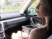Stranded teen Elisabeth banged by thick cock in public