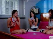 Three cute teen girls playing decks and lesbo sex on the bed