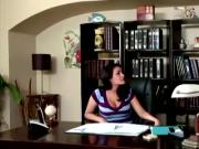 Sexy brunette lesbian seduces her hot big boobed boss