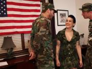 Army emo slut with tattoos fucked by her two sergeants