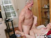Teen redhead Dolly Little is having thrilling sex with guy way older than her