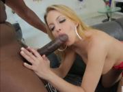 Extra busty babe Brittney Amber licks a huge black cock