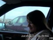 Czech girl Anastasia gets her hairy twat slammed in the car