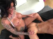Tattooed bitch Austin Lynn with big bosoms stretched body before having kinky sex