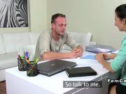 Female agent fucks plumber brunette blowjob