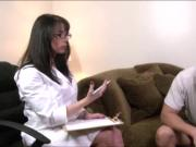 Busty mature therapist gives client head