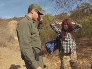 Border patrol agent undressed this redheaded babe right in the open