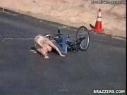 Big titted blonde falls of her bike