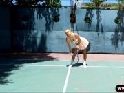 Big tits Natalia Starr fucked by tennis coach outdoors