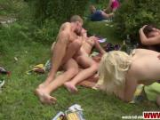 Amateur czech girl double penetrated during garden party