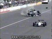 racing car crash and flip