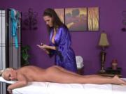 Lesbian massage babe rubs clients body