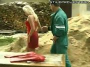 Hot blonde fucked on a pile of wood