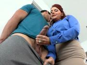 Two luscious red haired women shared on one lucky hard cock