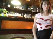Sexy big titted waitress sucks and screwed for extra money