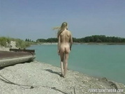 Amateur Blonde Threesome At The Lake