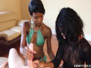 Two ebonies stroking a white cock