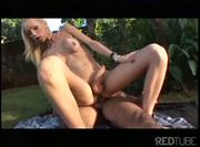 Blonde shemale nailed outdoor