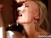 Blonde MILF gets facialized