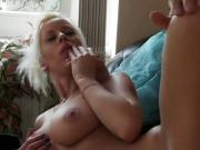 Blonde with hot dangling tits shagging