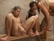 Lesbian fun in a gym