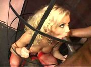 Blond ass addicted cage girl nailed black
