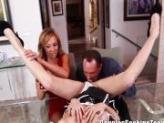 Swinging couple takes advantage of teen maid