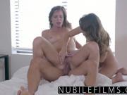 Teen seduces roommate into threesome fuck
