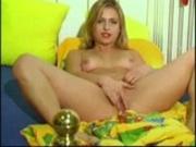 Funny blond teen masturbating