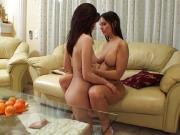 Lesbians get down on a sofa