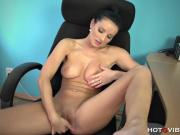 Naughty secretary Vanessa rubs one out at the