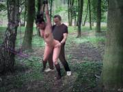 Athina tied in the forest and doggie fucked