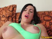 Stunning shemale tugging herself to climax
