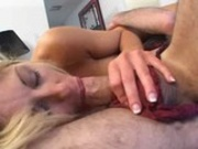 Man in female underwear fucks blond milf