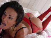 Red Stockings Babe Gives Foot Job