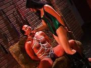 Asian dominatrix spanking her slave