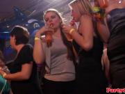 Dancing european amateurs at party tugging