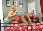 Blonde and black babe have sex