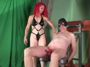 Redhead ballbusting Mistress ties balls