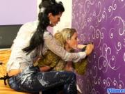 Bukakke lesbos cumcovered at the gloryhole